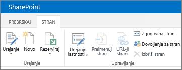 Trak v programu SharePoint 2013 v zgornjem levem kotu zaslona