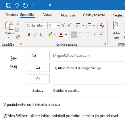 Funkcija @omemba v Outlooku