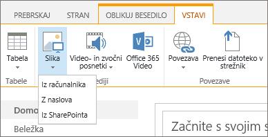 Posnetek zaslona s trakom v storitvi SharePoint Online. Izberite zavihek »Vstavljanje« in nato »Slika«, da izberete, ali želite prenesti sliko iz računalnika, spletnega naslova ali SharePointovega mesta.