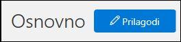 Posnetek zaslona gumba »prilagodi« na domači strani varnost in skladnost s predpisi središče