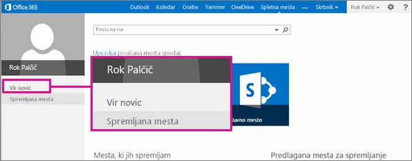 Posnetek zaslona spletne strani »Mesta« z označeno povezavo programa Newsfeed