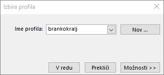 Pogovorno okno za izbiranje profila z imenom novega profila