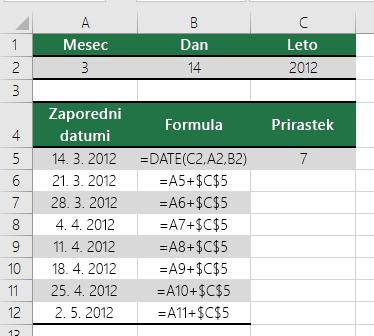 Povečajte ali zmanjšajte datum za določeno število dni