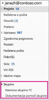 Razdelek »Skupine« v podoknu za krmarjenje programa Outlook 2016