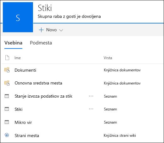 SharePointova stran podmesta s seznami iz izvožene aplikacije Access Web App