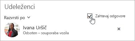 Posnetek zaslona gumba »Zahtevaj odgovore« v Outlooku v spletu