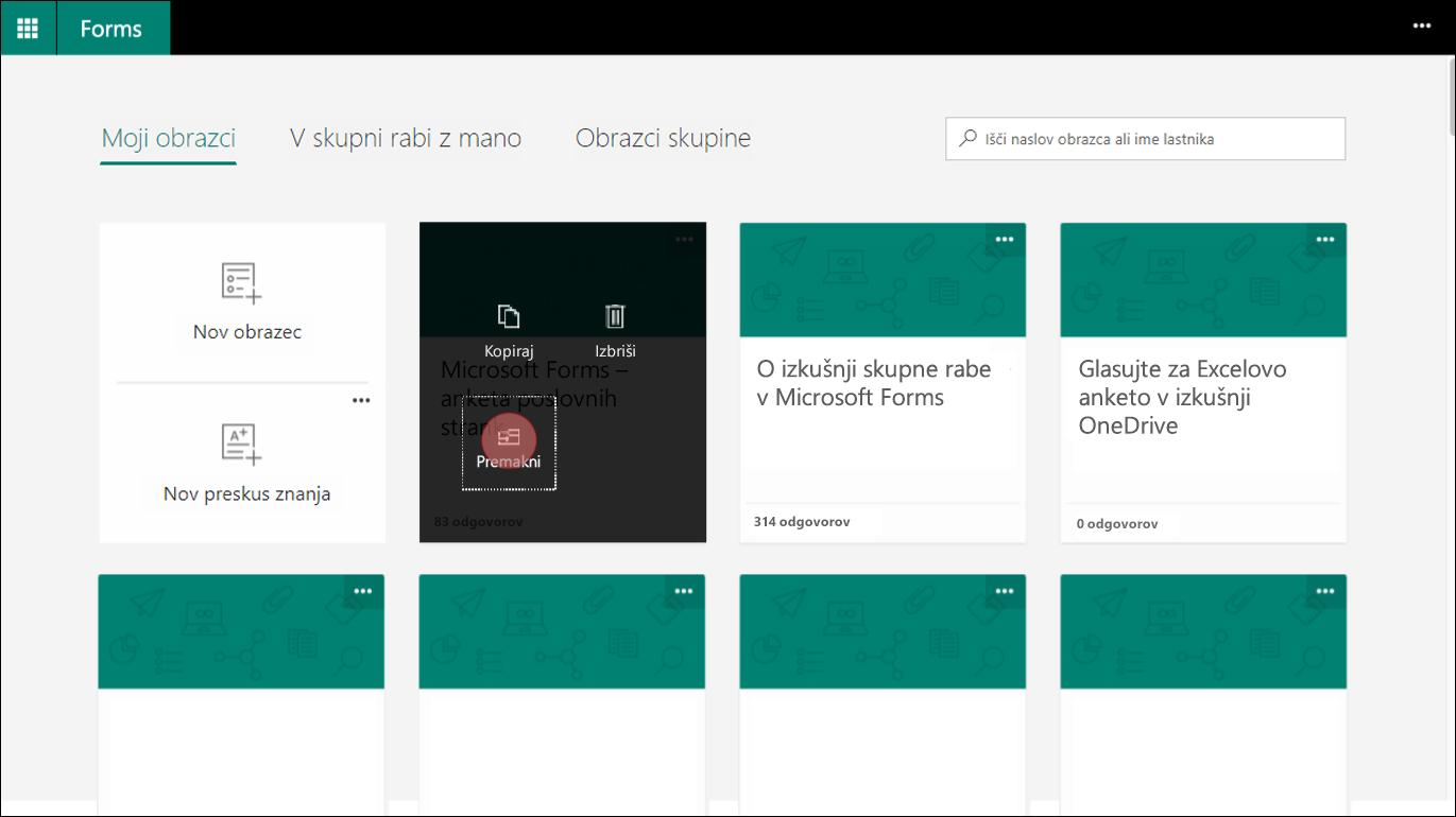 V Microsoft Forms, izberite obliko v na moje oblike s tipko tab premaknete v skupino