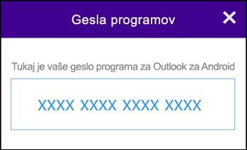 Zapišite si svoje geslo za program