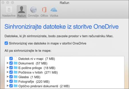 Pogovorno okno za sinhroniziranje map za OneDrive za Mac