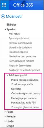 Možnosti glasovne pošte v Outlookovem podoknu z možnostmi e-pošte
