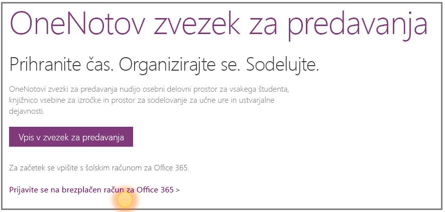 Posnetek zaslona, kako dobiti brezplačen račun za Office 365.