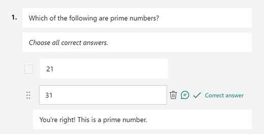 Prilagojeno sporočilo s pravilnim odgovorom v aplikaciji Microsoft Forms