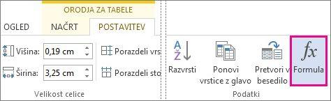 Gumb »Formula« za orodja tabele