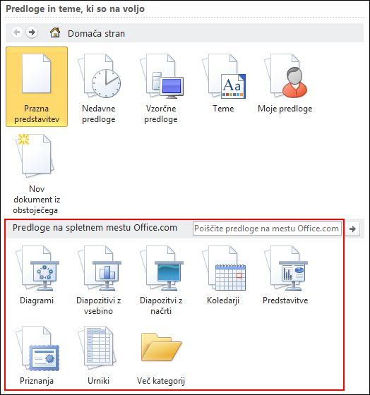 Izberite kategorijo iz predlog na spletnem mestu Office.com