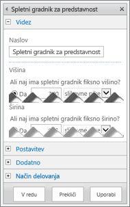 Posnetek zaslona podokna za urejanje spletnega gradnika za predstavnost, ki prikazuje nekatere lastnosti, ki jih lahko konfigurirate