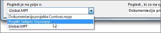 Izbiranje datoteke ciljnega projekta v Projectovem organizatorju.