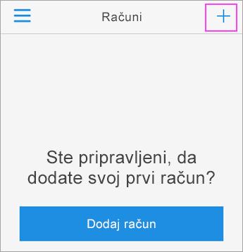 V aplikaciji Azure Authenticator tapnite znak +.