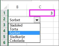 Povezana celica prikaže številko elementa, ko jo označite.