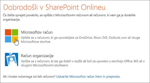 Posnetek zaslona, na katerem je prikazan zaslon za vpis v SharePoint Online.