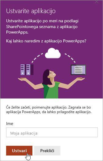 Zagotavljanje ime v PowerApp in nato kliknite Ustvari.