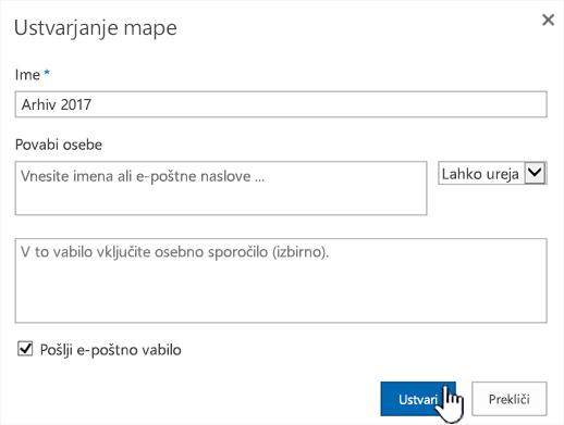 Pogovorno okno s klasičnim načinom skupne rabe v storitvi SharePoint Online