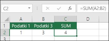Funkcija SUM se samodejno prilagodi glede na vstavljene ali izbrisane vrstice in stolpce
