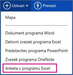Ustvarite Excelovo anketo