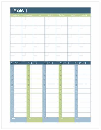 Mesečni in tedenski koledar za načrtovanje (Word)