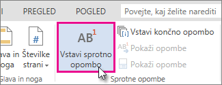 Vstavi sprotno opombo v programu Word Web App