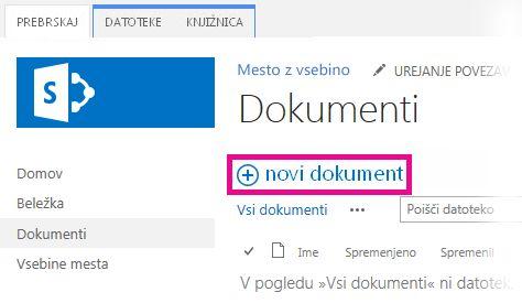Kliknite »Dodaj«, da povlečete datoteke v knjižnico
