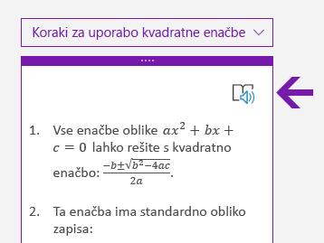 Ikona Potopnega bralnika v podoknu za matematiko v OneNotu za Windows 10