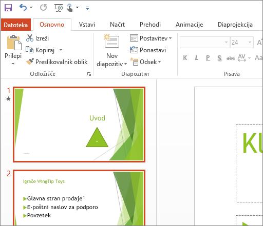 Prikaže PowerPoint 2016, v katerem je uporabljena bela tema.