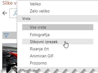 S filtrom »Vrsta« lahko omejite svoje možnosti samo na slikovne izrezke