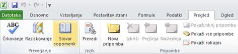 »Slovar sopomenk« na zavihku »Pregled« na Excelovem traku
