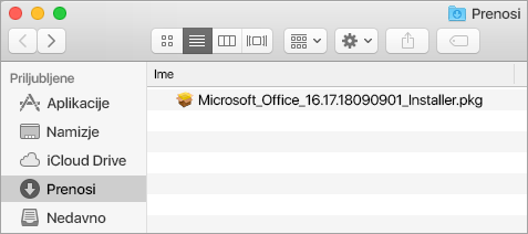 Ikona »Prenosi«na zavihku »Zasidraj« prikazuje namestitveni paket za Office 365.