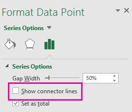 Podokno opravil v sistemu Office 2016 za oblikovanje podatkovnih točk, kjer je polje »Pokaži povezovalne črte« počiščeno.