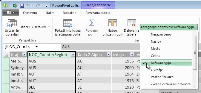 Kategorije podatkov v dodatku PowerPivot