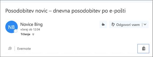 Posnetek zaslona izvlečka z zgornjega dela e-poštnega sporočila z označeno ikono »Trgovina«. Če kliknete ikono, odprete okno »Dodatki za Outlook«, kjer lahko poiščete in namestite dodatke.