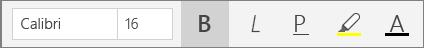 Gumbi za oblikovanje besedila na traku menija »Osnovno« v OneNotu za Windows 10.
