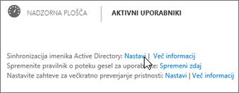 Izberite »Nastavitev« zraven sinhronizacije imenika Active Directory