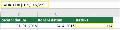 "Celica D15 z vrednostjo 1. 1. 2016, celica E15 z vrednostjo 24. 4. 2016, celica F15 s formulo: =DATEDIF(D15,E15,""d"") in rezultatom 114"