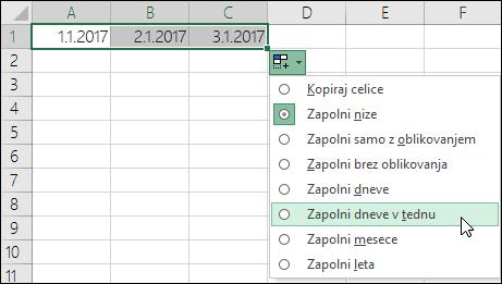 Uporaba zapolnitvene ročice za ustvarjanje seznama zaporednih datumov