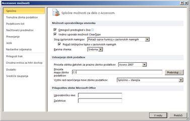 pogovorno okno »Accessove« možnosti, ki prikazuje kategorijo »Splošno« za splošne možnosti nastavitev