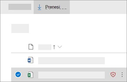 Posnetek zaslona prenaša blokirane datoteke v storitvi OneDrive za podjetja