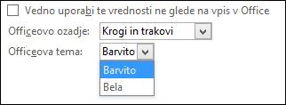 Izvlečni meni »Officeova tema«, možnosti teme »Barvito« in »Bela«.