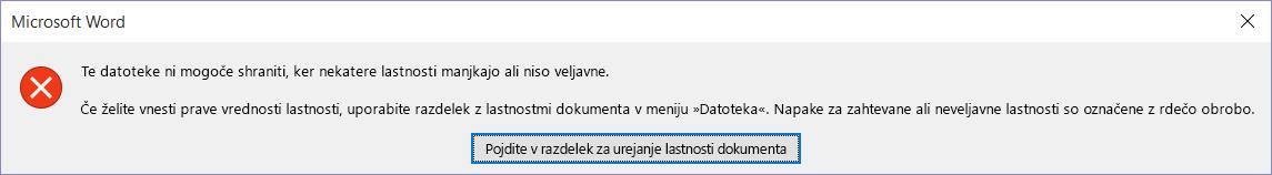 Pogovorno okno, ki označuje, da datoteke ni mogoče shraniti.
