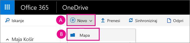 Ustvarjanje nove mape v storitvi OneDrive za podjetja.