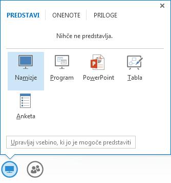 Posnetek zaslona menija »Skupna raba« z izbranim zavihkom »Predstavljanje«, ki prikazuje Powerpointove možnosti in druge možnosti skupne rabe