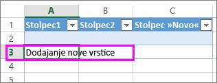 Dodajte novo vrstico tabele tako, da vnesete podatke v vrstico pod zadnjo vrstico v tabeli