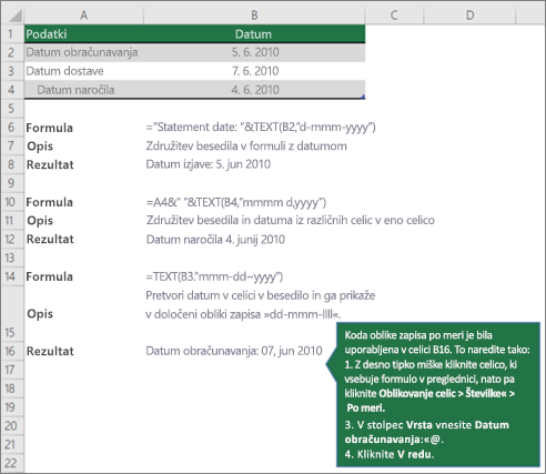 Primeri za prikaz, kako lahko formule združujejo besedilo z datumskimi in časovnimi vrednostmi